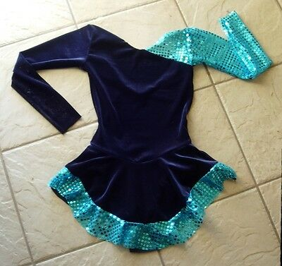 NEW Girl NAVY BLUE VELVET Teal Sequin Competition FIGURE/ICE SKATING Dress 8/10