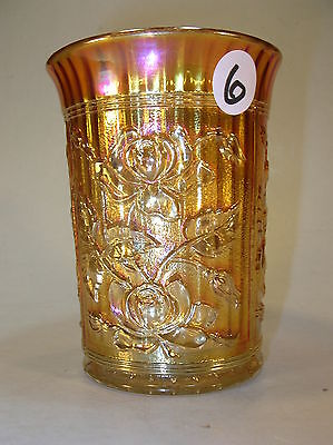 Vintage IMPERIAL CARNIVAL GLASS TUMBLER . MARIGOLD LUSTER ROSE PATTERN (CG34)