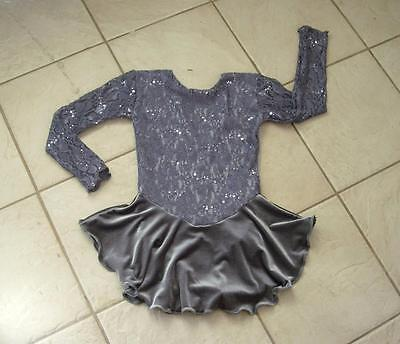 NEW GRAY Lace SEQUIN VELVET Competition GIRL Figure ICE SKATING Dress 12/14 CXL