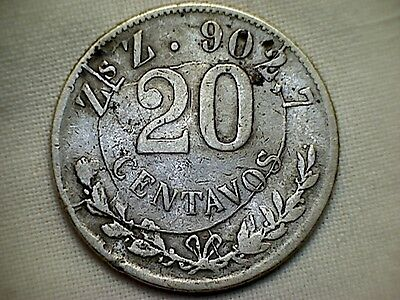 1903 20 Centavos Zs Z Mexican Silver Coin *MAJOR DIE BREAK OBVERSE ERROR