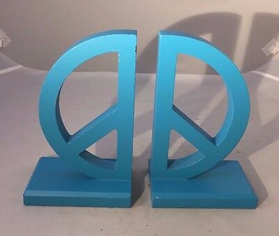 Aqua Blue PEACE SIGN Bookends - Hippie Retro Chic!