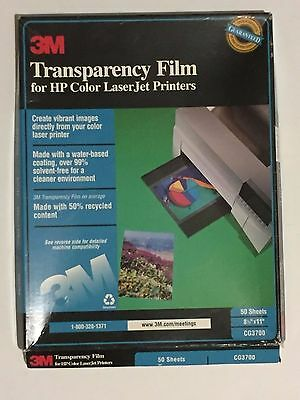 3M Transparency Film for HP Color LaserJet Printers, opened box, 37 sheets
