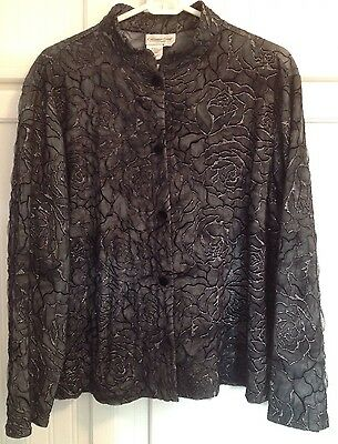 Coldwater Creek Petite XL Jacket Formal Evening Gown Black Silver Cocktail PXL