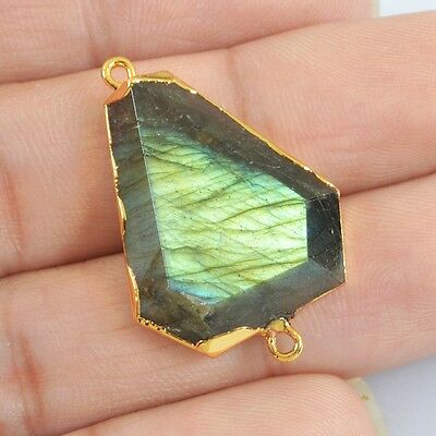 Natural Labradorite Faceted Connector Gold Plated H83635