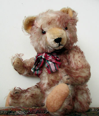 "Antique  Hermann teddy bear with cinnamon tipped mohair 16"" 1940's Germany"