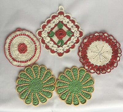Hand Crocheted Vintage Pot Holders Hot Pads Lot Of 5 Flower Green Gold Red White