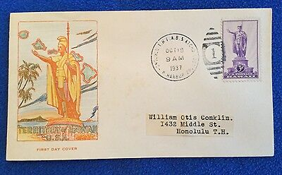 Hand Colored Territory Of Hawaii USA Pearl Harbor Cachet First Day Cover FDC 3c