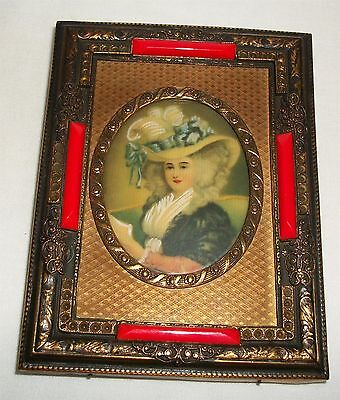 Vintage Framed Portrait On Celluloid Print with Painted Embellishments Frame