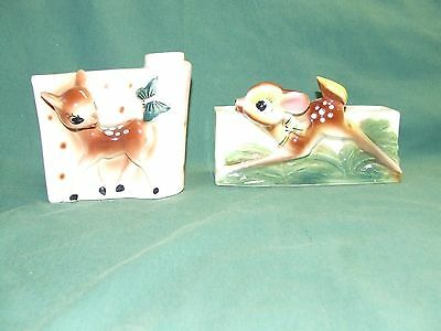 2  Bambi Wall Hanging Vases   1950s