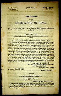 1849 IOWA Dubuque & Keokuk Railroad Request for Land Grant George Greene