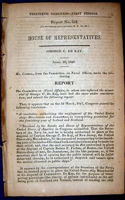 1848 GREAT FAMINE Ireland Scotland American Ships to Transport Provisions