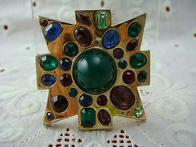 Vintage Kenneth Lane Jewels Of India Maltese Cross Pin Brooch Pendant