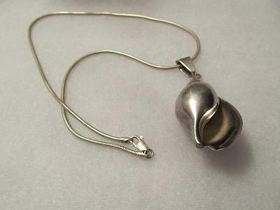 Vintage 3D Conch Sea Shell Sterling Silver Pendant - Necklace