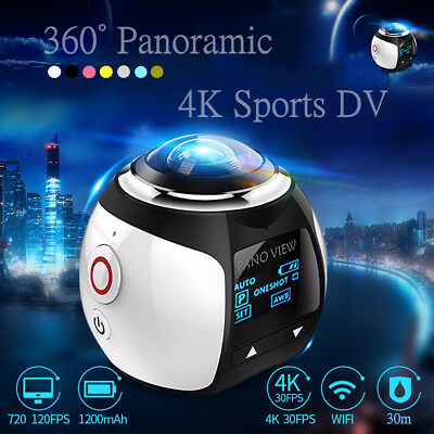 4K 360° Mini Panoramic Camera HD VR 2440P WI-FI Waterproof Sports Action Video