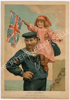 """Antique WWI British Navy Color Lithograph """"LOYAL SUBJECTS"""", Girl w/ Union Flag!"""