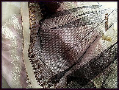 Rare Antique French Edwardian Millinery Silk Tulle Lace Veil Copper Metal 1910