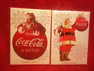 2 Decks Coca-Cola Playing Cards Christmas 2008 New Sealed
