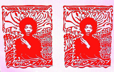 JIMI HENDRIX - RED DOUBLE PRINT - 1988 Rocky Awards -NW HALL OF FAME  Original