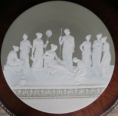 "Large Antique Mettlach Cameo Plaque Charger #2443 18 1/2"" Diameter - Mint"