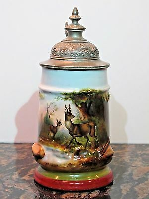 Antique 1/2L Porcelain German Beer Stein with Deer and figural thumb lift - mint