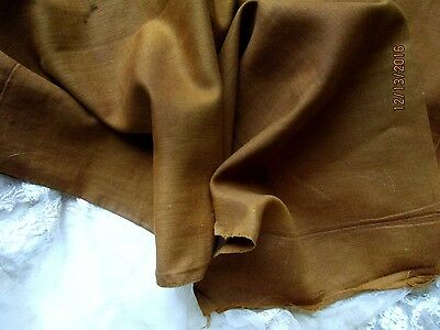 ANTIQUE VICTORIAN 1800s UNIQUE COTTON FABRIC FRAGMENT RUST BROWN 19th