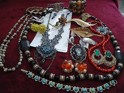 2. NICE VINTAGE TO NOW JEWELRY LOT -MOSTLY VINTAGE:CROWN TRIFARI, JAPAN , cameo