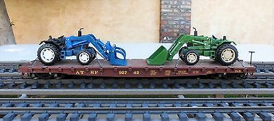 LGB  ATCHISON - TOPEKA & SANTA FE FLAT CAR  w/ (2) TRACTORS WITH BUCKETS