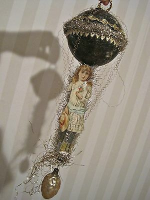 Antique Victorian Wire Wrapped Balloon Glass Scrap Paper Christmas Ornament