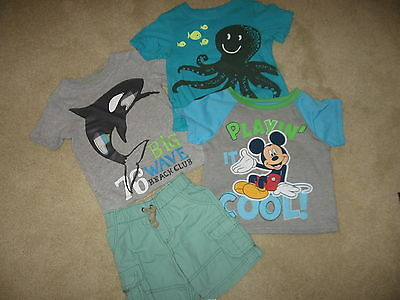 Carters Baby Boy Toddler Orca Whale & Octopus T Shirts & Disney Mickey Size 2T