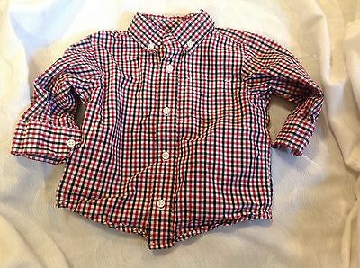 Gymboree Boy's Red Black & White Plaid Long Sleeve Shirt Button Up 12-18 months