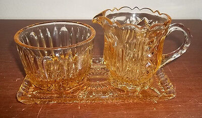 Yellow Gold Carnival Glass Irridescent Sugar, Creamer & Tray (Imperial, Fenton?)