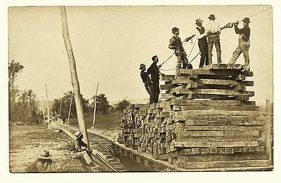 Otsego & Herkimer Railroad Workers Loading Crossed Logs Hartwick, NY 1900's RPPC