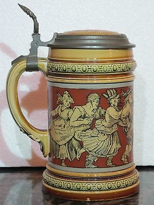Antique Mettlach Incised 1/2L German Beer Stein #2057 Dancing Peasants Inlay Lid