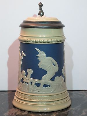 Antique Mettlach 1/2L German Beer Stein #2182 Peasants Bowling Scene