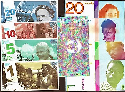 Brixton - The Full Monty !! All 9 Banknotes, Both complete sets + Special Fiver.