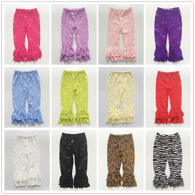 Summer Baby Girl Kids Lace Thin Leggings Floral Ruffle Pants Printed Trousers