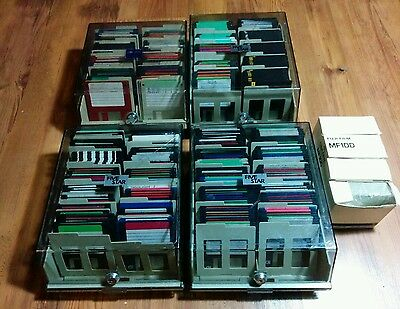 """400 mixed  lot of vintage PC IBM DOS floppy disks 3,5"""" with Storage cases"""