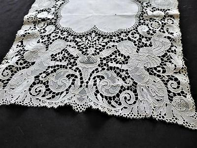 Antique Figural Swiss Chemical Lace & Linen Runner W Angels