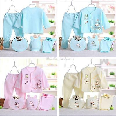0-3M Newborn Infants 5Pcs Cotton Monk Shirt Pants Baby Boys Girl Outfits Clothes