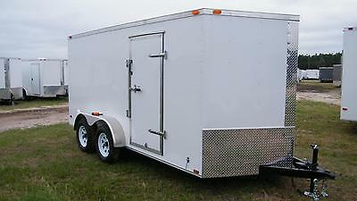 7x14 Enclosed Cargo Trailer V-Nose Tandem Axle Motorcycle Utility16 Lawn 2017