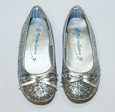 New Toddler Silver Youth Girls Glitter Flats Ballerina  Pageant Dress Shoes