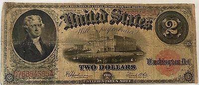 1917 Large Size Note $2 Two Dollar Bill Red Seal Banknote Currency