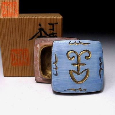 CL4: Japanese Pottery Incense Case, Kogo, Kyo ware with wooden box