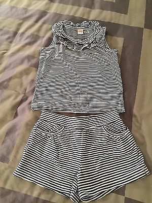 Gymboree girls blue & white striped cotton sleeveless top and shorts