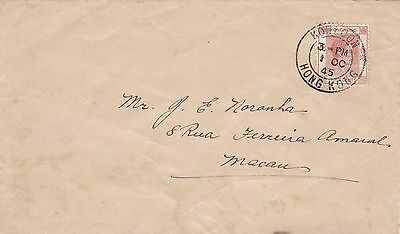 GE8 Hong Kong First Post WWII Surface Mail to Macao 1.10.1945