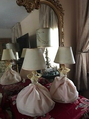 Vintage Victorian Showgirl Lady Table Lamps Bedroom Pair Boudoir