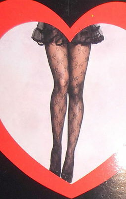 BOW AND LACE ~ Two Pair LOVELY DAY LINGERIE Black Fishnet Stockings ~ One Size