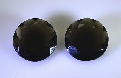 15 carat x 13.7 x 8 mm Round Smoky Quartz gemstones just perfect for Earrings.
