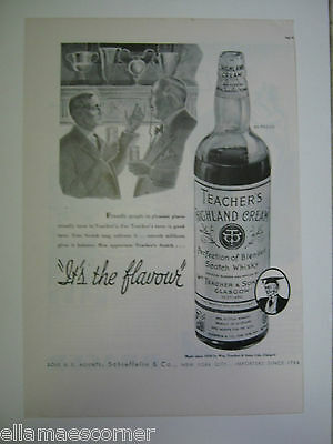 Vintage 1937 Teacher's Highland Cream Scotch Whiskey Genuine Original Print Ad