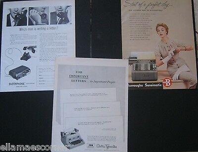 Vintage Business Print Ads March 1954 IBM, Dictaphone, and Burroughs Sensimatic